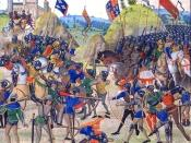 Battle of Crécy between the English and French in the Hundred Years' War. From a 15th-century illuminated manuscript of Jean Froissart's Chronicles (BNF, FR 2643, fol. 165v).