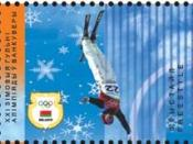 Part of Belarus souvenir sheet no. 72, commemorating the 2010 Winter Olympics and featuring freestyle skiing.