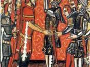 Roland receives the sword, Durandal, from the hands of Charlemagne. Late medieval manuscript miniature (ca. 1400?), source unknown, presumably illustrating a maniscript of a Roland romance. Uploaded in August 2004 by User:Ihcoyc