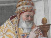 English: Detail from fresco of Pope Gregory IX approving the Decretals, 1511, Fresco Stanza della Segnatura, Palazzi Pontifici, Vatican, Vatican City State