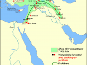 Map of fertile crescent 7500 BC (in Norwegian)