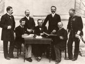 Olympic Games 1896, Athens. The International Olympic Committee. From Left to right, standing: Gebhardt (Germany), Guth-Jarkovsky (Bohemia), Kemeny (Hungary), Balck (Sweden); seated : Coubertin (France), Vikelas (Greece & chairman), Butovsky (Russia)