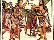 A drawing from the 16th century Florentine Codex showing a One Flower ceremony with a teponaztli (foreground) and a huehuetl (background).