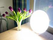 English: A 30 kHz bright light therapy lamp (Innosol Rondo) used to treat seasonal affective disorder. Provides 10,000 lux at a distance of 25 cm. Suomi: 30 kilohertsin kirkasvalolamppu (Innosol Rondo) kaamosmasennuksen hoitoon. Kirkkaus 25 senttimetrin p
