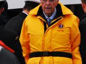 English: John Crosbie, a former provincial and federal politician from Newfoundland and the current Lieutenant Governor of Newfoundland and Labrador, at an event commemorating the 100th anniversary of the Canadian Navy and the 400th anniversary of the set