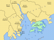 Pearl River Delta area, showing boundaries of the Special Administrative Regions of Hong Kong and Macau (in green), and the bordering Guangdong Prefectures Map drawn in October 2007 using various sources, mainly : Map of the Pearl River Delta from www.joh