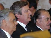 Português: Os ex-presidentes Fernando Henrique Cardoso, Fernando Collor e José Sarney participam da cerimônia de posse do presidente do STF, ministro Gilmar Mendes.