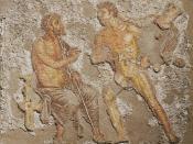 Achilles and Agamemnon, scene from Book I of the Iliad, Roman mosaic.