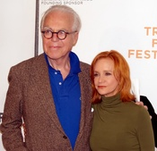 English: John Guare and Swoosie Kurtz at the 2009 Tribeca Film Festival premiere of Poliwood. Photographer's blog post about the event at which this portrait was taken.