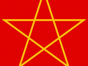 Gold pentagram/pentangle on red background