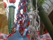 English: Image of a net (toami) Tanabata decoration, photographed during the Sendai Tanabata Festival, held at Sendai, Miyagi Prefecture, Japan. I took this photograph on August 7, 2005. This image is multi licensed under the GNU Free Documentation Licens