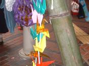 English: Image of a paper crane (orizuru) Tanabata decoration, photographed during the Sendai Tanabata Festival, held at Sendai, Miyagi Prefecture, Japan. I took this photograph on August 7, 2005. This image is multi licensed under the GNU Free Documentat