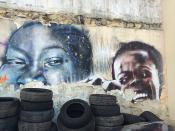 Street Art sur pneus, Paris. Black faces