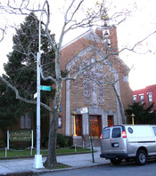 English: Looking southwest at St Mary's Winfield Roman Catholic Church on a sunny late afternoon.