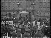 New Zealand troops march past Buckingham Palace after World War I, 1919