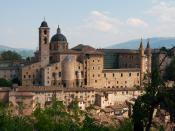 Italiano: Veduta della città di Urbino dalla collina del castello. Si ammira la Cattedrale e il Palazzo Ducale sulla sinistra.
