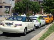 English: Hybrid taxis from several taxi cab companies in Pentagon City, Arlington, Virginia