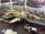 The first U.S. Navy T-45A Goshawk (BuNo 162787) pictured on the assembly line at the McDonnell Douglas facility at Long Beach, California (USA).