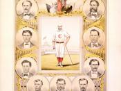 Color lithograph of the 1869 Cincinnati Red Stockings baseball team.