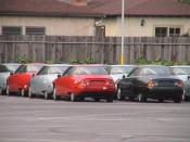 English: GM EV1s parked at GM's training center in Burbank, California, awaiting for crushing