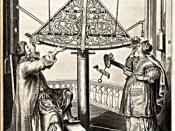 Hevelius and his wife Elisabetha making observations, 1673