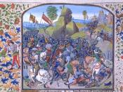 Miniature by Jean Froissart (15th century) depicting the Battle of Montiel (Castillian Civil War, part of the Hundred Years' War) from his Chronicles.
