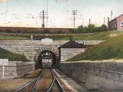 English: Postcard of the west end St. Clair River Tunnel in Port Huron, Michigan, United States. The east end is in Sarnia, Ontario, Canada. The tunnel was designated a Civil Engineering Landmark by both the Canadian and the American Societies of Civil En
