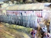 English: Reconstruction of the Saxon palace at Cheddar, taken at Cheddar Gorge