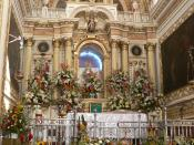 The interior of the catholic church Santuario de Nuestra Señora de Los Remedios in Cholula, México