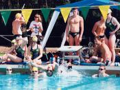 English: Australian swimmers at the training pool at the 1996 Atlanta Paralympic Games