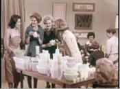 English: Screenshot taken from the video link above. Showing a hostess having a Tupperware Party with her friends, and several varieties of Tupperware on display.