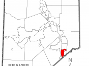 A map of Beaver County showing Ambridge, Pennsylvania (alternate) highlighted on the map.