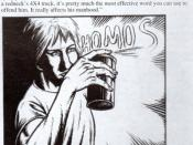 English: Detail of interview with Nirvana rendered as a comic strip, illustratted by Ralph Horsley, from issue 10 of Ablaze!, Leeds, UK, 1993.