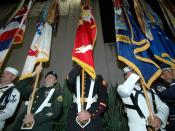 English: Pearl Harbor, Hawaii (Dec. 7, 2005) – A joint service color guard practices on the morning of the 64th commemoration of the Dec. 7, 1941 attack on Pearl Harbor, Hawaii. The ceremony, which included remarks by keynote speaker Chief of Naval