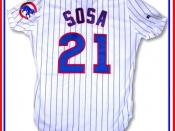 English: Sammy Sosa 1998-99 Chicago Cubs home baseball uniform. This authentic jersey is made by Russell Athletic. The photograph was taken from my sports memorabilia collection with a Nikon Coolpix e3200 digital camera and edited using ArcSoft PhotoStudi