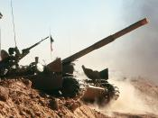English: A Kuwaiti M-84 main battle tank crosses a trench during a capabilities demonstration at a Kuwaiti outpost during Operation Desert Shield.