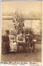 Waller's descendant Edmund Waller (1828-1898) of Farmington (with stick). With second wife, daughter and friend, 1889