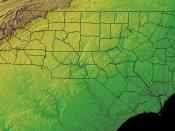 Topographic map of North Carolina