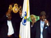 English: Former middleweight boxer Rubin Carter; falsely convicted of murder; subject of a Bob Dylan song. Carter spoke of his experience at Bunker Hill Community College, Boston, Mass. on March 24, 2011. (revision of the original text)