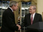 English: President George W. Bush shakes the hand of outgoing Secretary of State Donald Rumsfeld Wednesday, Nov. 8, 2006, in the Oval Office where the President announced the Secretary's resignation and his intention to nominate Dr. Robert Gates as succes