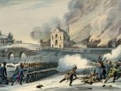 Estampe. Vue arrière de l'église Saint-Eustache et dispersion des insurgés. Encre et aquarelle sur papier - Lithographie (26.5 x 36.6 cm). Bataille de Saint-Eustache, 14 décembre 1837 lors de la rébellion des Patriotes à Saint-Eustache, ville du Québec qu