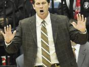 English: New Mexico Lobos head men's basketball coach Steve Alford at the game against the USD Toreros on December 10, 2008.