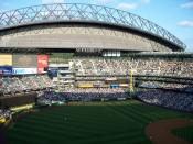 Photo of the retractable roof open, Safeco Field. Taken on 7/19/2008