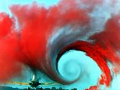 This picture from a NASA study on wingtip vortices qualitatively illustrates the wake turbulence.