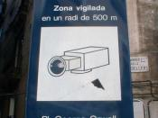 Placa George Orwell in Barcelona, Spain is watched by video cameras