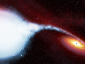 English: An artists illustration of material being gravitationally sucked off a a blue supergiant variable star designated HDE 226868 onto a black hole known as Cygnus X-1. The purpose of this version of the image (versus file:800px-Cygnus_X-1.jpg) is to