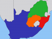 Map of the South Africa in the beginning 1900s, with provinces recoloured in the GIMP.