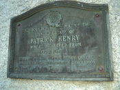 English: Marker on stone monument to Virginia patriot Patrick Henry at the location of his plantation in Henry County, Virginia, where he lived from 1778–1784.