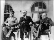 English: From left to right: Joseph Stalin, Franklin D. Roosevelt, and Winston Churchill on the portico of the Russian Embassy during the Tehran Conference.