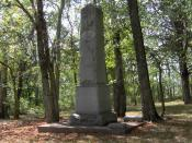 English: Monument dedicated to Anthony Bledsoe (1733-1788) and Isaac Bledsoe (c. 1735-1793) at Bledsoe's Fort Historical Park in Sumner County, Tennessee, in the southeastern United States. The monument, located at the back of Belote Cemetery, was erected